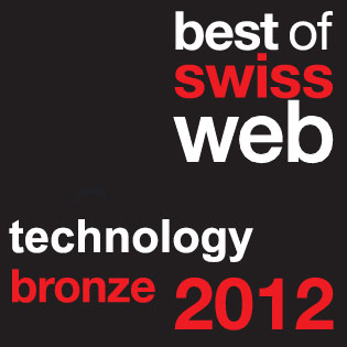 best of swiss web 2012 - QUENTIQ technology bronze award