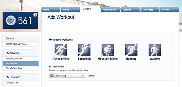 Recent Activities list when you add a new workout