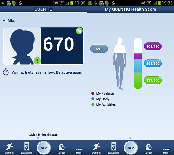 QUENTIQ tracker android welcome screen with Health Score