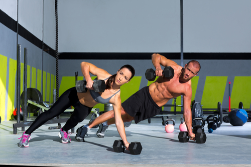 Strength Pushup With Dumbbell In A Fitness Workout