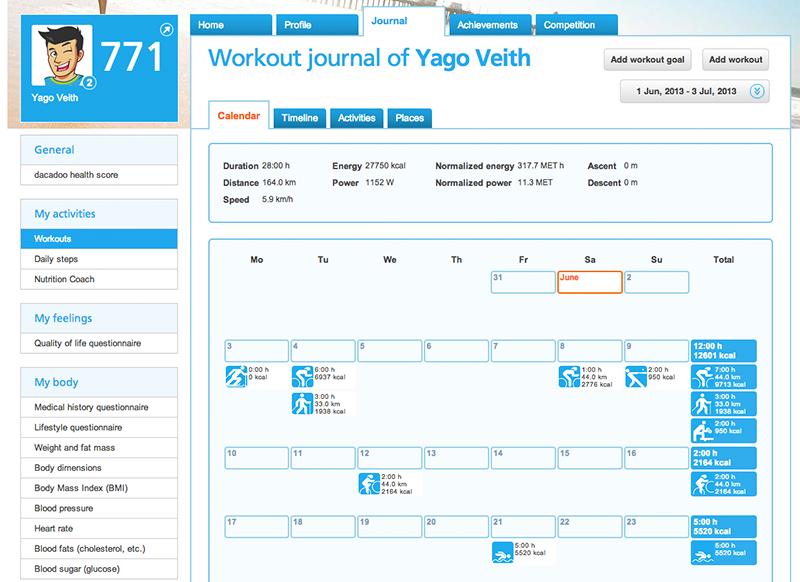 Journal workout calendar