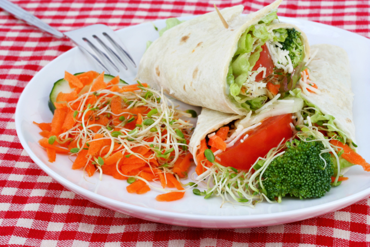 Healthy Vegetable Wrap and Salad
