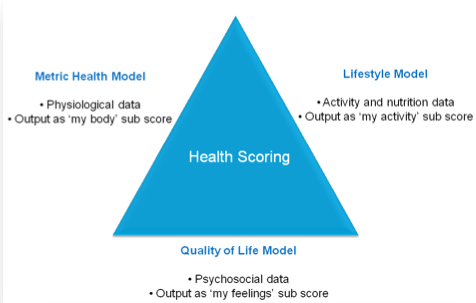 Figure 3. Health scores can be derived from the combination of three main factors, the Metric Health Model, Quality of Life model and Lifestyle Model