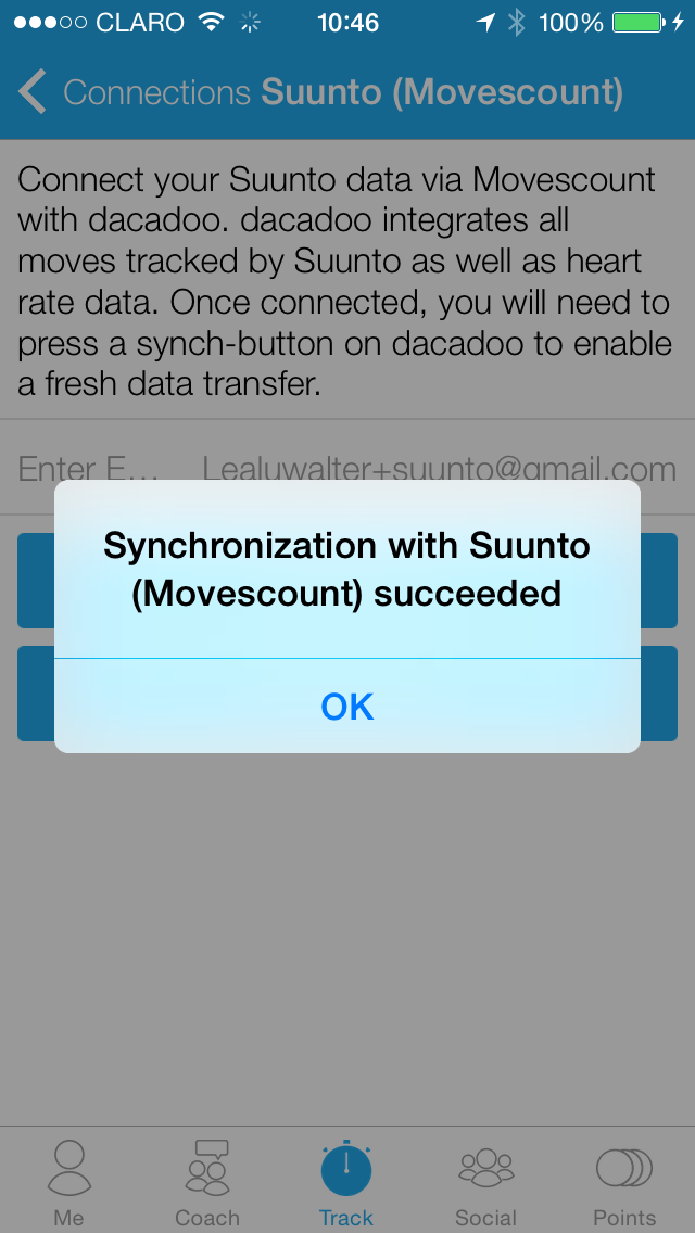 Suunto movescout APP_SUCCESSFULL