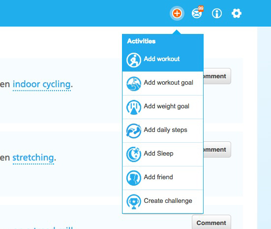 "Click on the top right orange""+"" button and choose ""Add workout"""