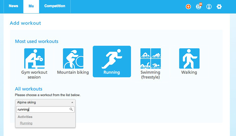 "Select one of the >110 available activities you'd like to add for example ""Running""."