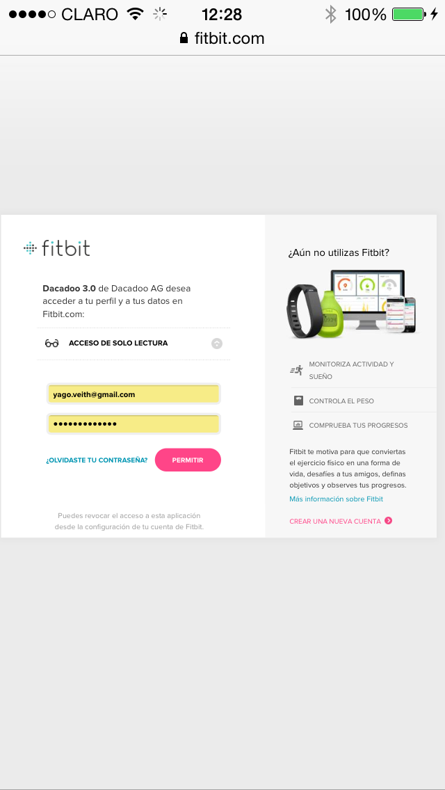 FItbit allow connection