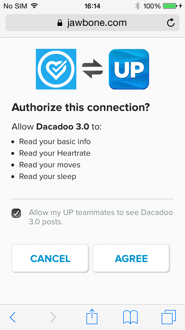 Authorize Connection Jawbone Dacadoo