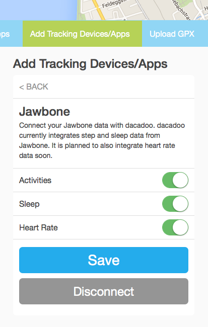 Jawbone connection status