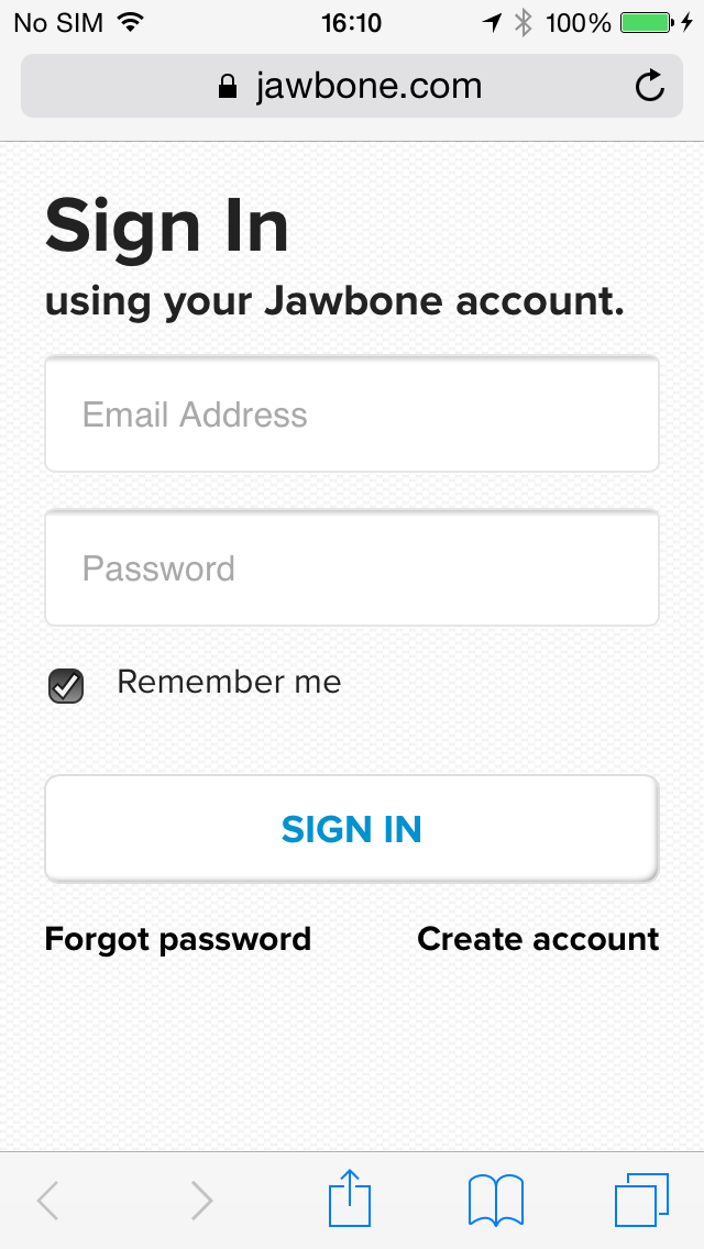 SIgn In Jawbone Account