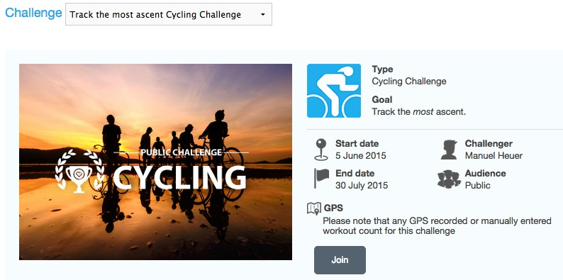 Track the most ascent Cycling Challenge